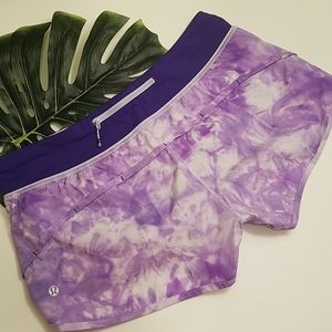 Lululemom Purple Tie Dye Workout Shorts Size 8 EUC